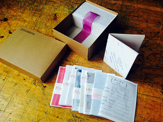 Provisions, Nick Kline & Adrienne Wheeler with Endless Editions and Rutgers